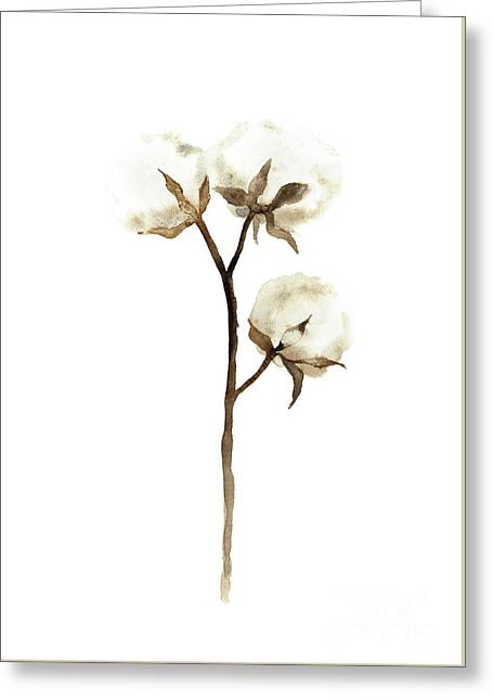 Cotton White Brown Beige Watercolor Art Print Natural Home Decor Abstract Flower Minimalist Poster Greeting Card by Joanna Szmerdt