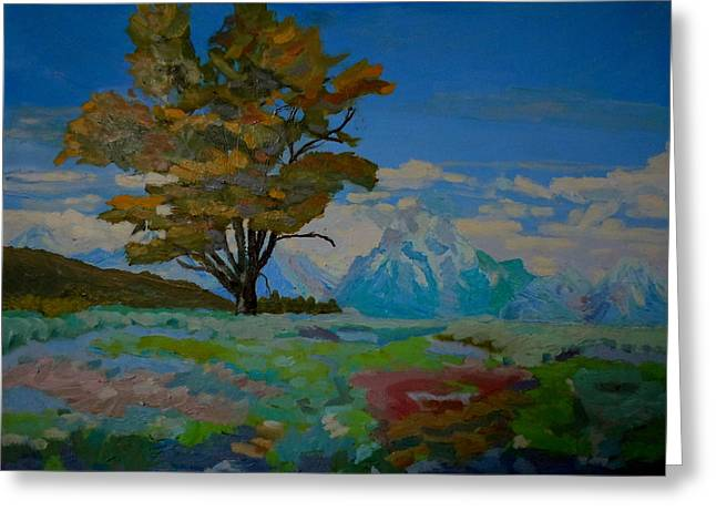 Cottonwood On Teton Range Greeting Card by Francine Frank