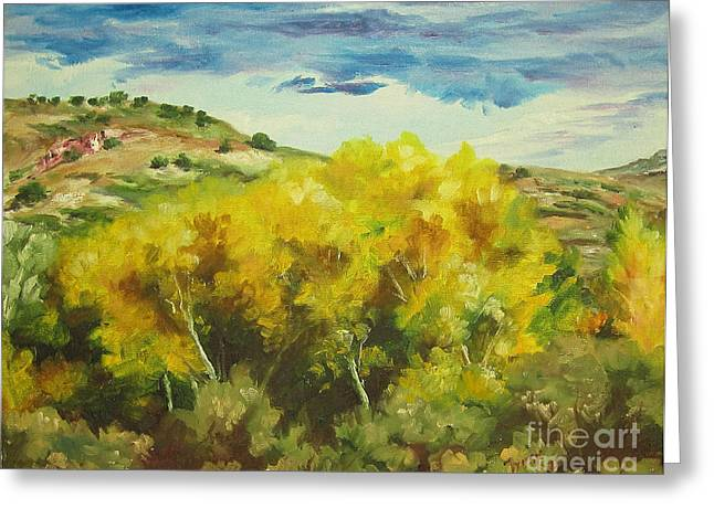 Cottonwoods Greeting Card by Theresa Higby