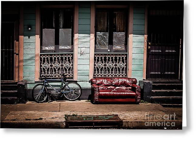 Couch And Bike - Nola Greeting Card by Kathleen K Parker