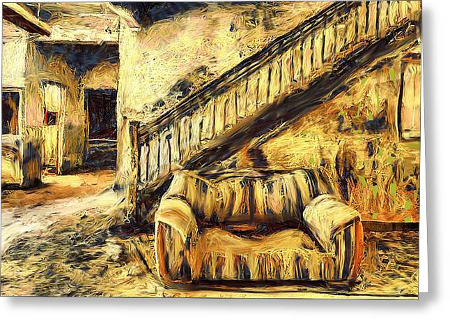 Couch In Abandoned Hotel Lobby Greeting Card by Lalo D'art