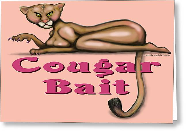 Cougar Bait Greeting Card by Kevin Middleton