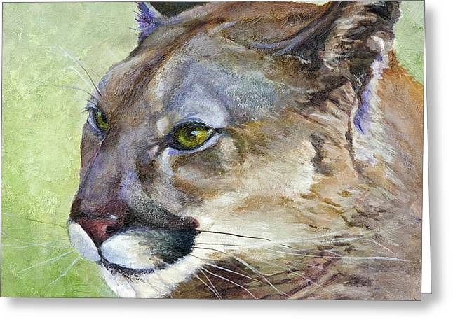 Greeting Card featuring the painting Cougar by Bonnie Rinier