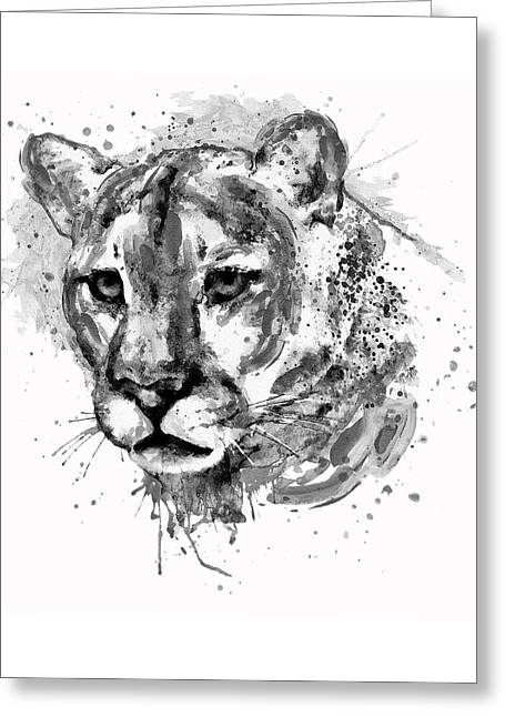 Cougar Head Black And White Greeting Card