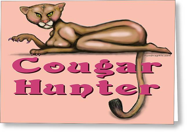 Cougar Hunter Greeting Card by Kevin Middleton