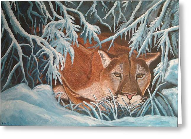 Cougar In Snow Greeting Card by Nick Gustafson
