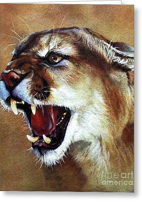 Cougar Greeting Card by J W Baker