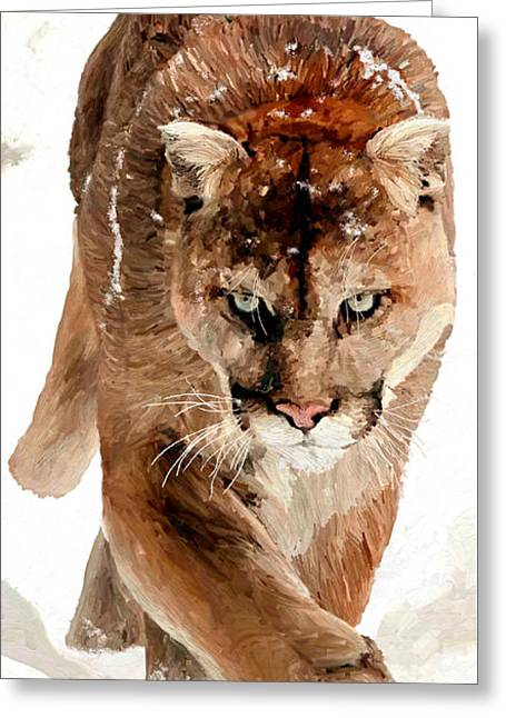 Greeting Card featuring the painting Cougar In The Snow by James Shepherd