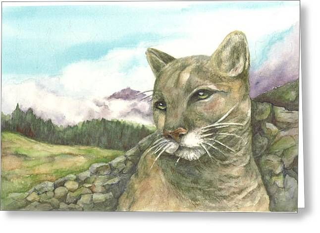 Cougar Greeting Card by KC Winters