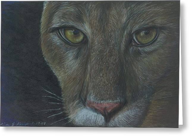 Cougar Greeting Card by Linda Nielsen