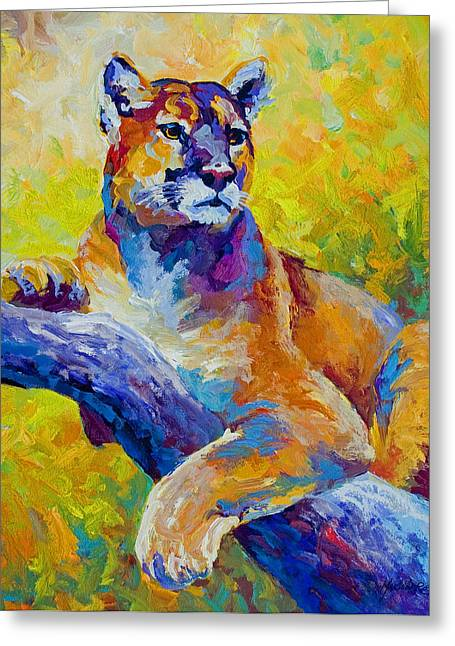 Cougar Portrait I Greeting Card by Marion Rose