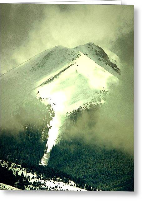 Greeting Card featuring the photograph Coulier Through The Veil Spring Storm Over Lemhi Range Idaho by Anastasia Savage Ealy