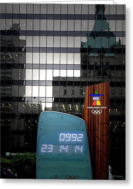 Countdown Clock Olympic Winter Games Vancouver Bc Canada 2010 Greeting Card by Christine Till