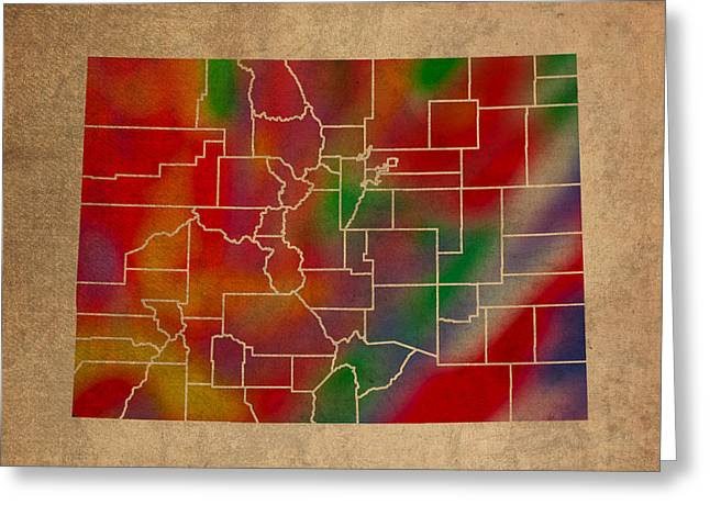 Counties Of Colorado Colorful Vibrant Watercolor State Map On Old Canvas Greeting Card
