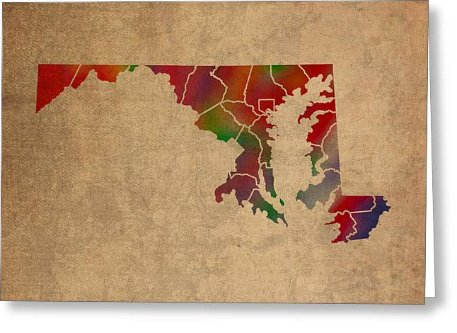 Counties Of Maryland Colorful Vibrant Watercolor State Map On Old Canvas Greeting Card
