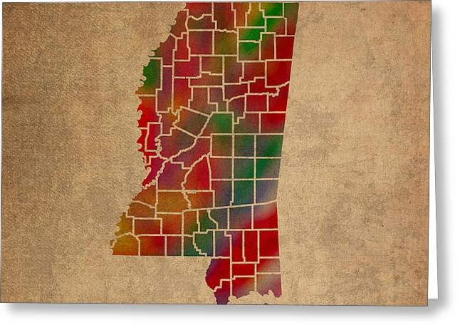 Counties Of Mississippi Colorful Vibrant Watercolor State Map On Old Canvas Greeting Card by Design Turnpike