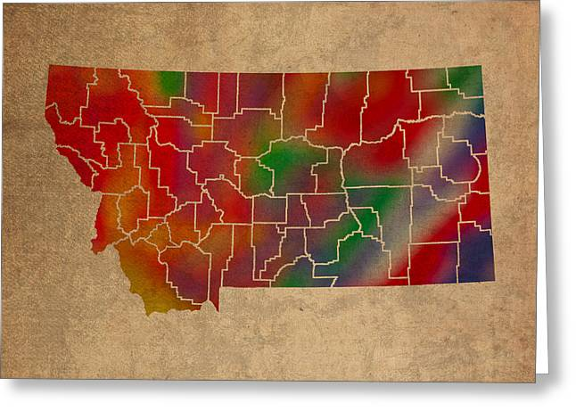 Counties Of Montana Colorful Vibrant Watercolor State Map On Old Canvas Greeting Card by Design Turnpike