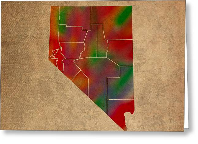 Counties Of Nevada Colorful Vibrant Watercolor State Map On Old Canvas Greeting Card