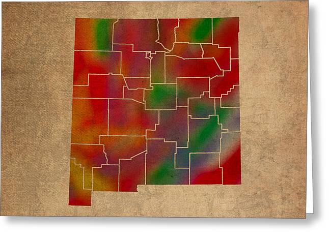 Counties Of New Mexico Colorful Vibrant Watercolor State Map On Old Canvas Greeting Card