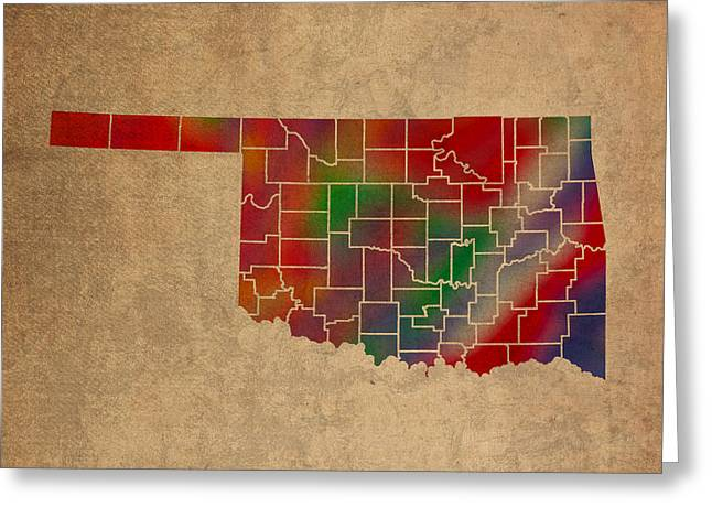 Counties Of Oklahoma Colorful Vibrant Watercolor State Map On Old Canvas Greeting Card