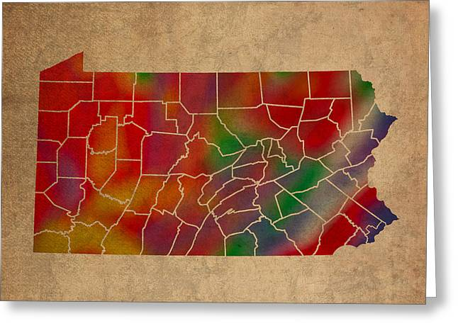 Counties Of Pennsylvania Colorful Vibrant Watercolor State Map On Old Canvas Greeting Card by Design Turnpike