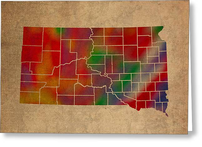 Counties Of South Dakota Colorful Vibrant Watercolor State Map On Old Canvas Greeting Card by Design Turnpike