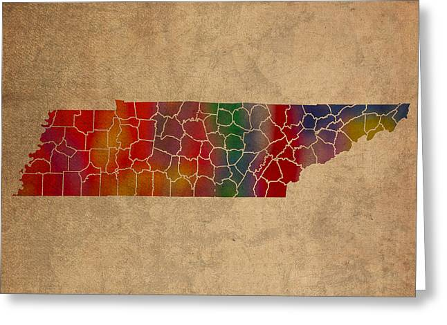Counties Of Tennessee Colorful Vibrant Watercolor State Map On Old Canvas Greeting Card