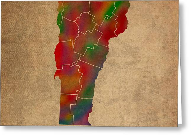 Counties Of Vermont Colorful Vibrant Watercolor State Map On Old Canvas Greeting Card