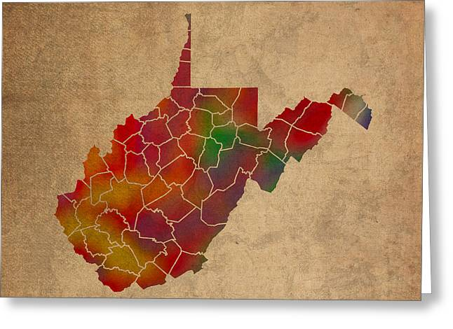 Counties Of West Virginia Colorful Vibrant Watercolor State Map On Old Canvas Greeting Card