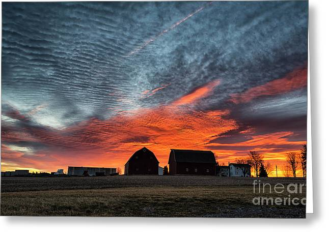 Country Barns Sunrise Greeting Card