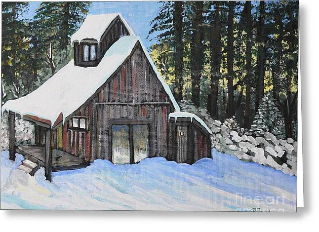 Country Cabin Greeting Card by Reb Frost