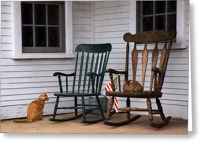 Country Cats Greeting Card by Robin-Lee Vieira