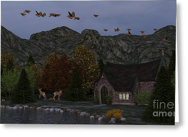 Greeting Card featuring the digital art Country Church Autumn At Twilight by Methune Hively