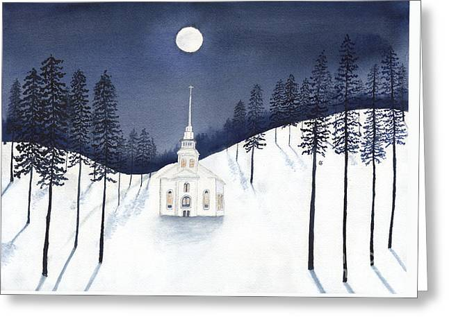 Country Church In Moonlight 2, Silent Night Greeting Card