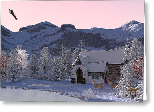 Greeting Card featuring the digital art Country Church by Methune Hively