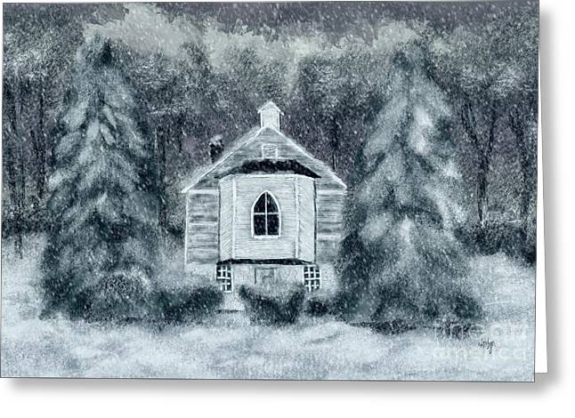 Greeting Card featuring the digital art Country Church On A Snowy Night by Lois Bryan