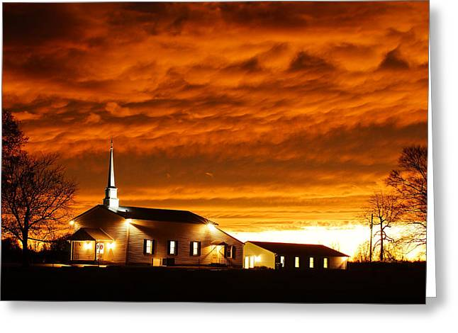 Country Church Sundown Greeting Card by Keith Bridgman