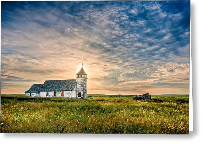 Country Church Sunrise Greeting Card