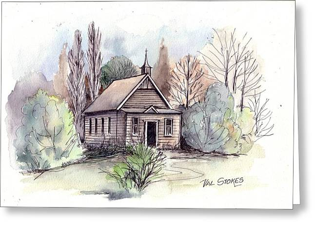 Country Church Greeting Card by Val Stokes