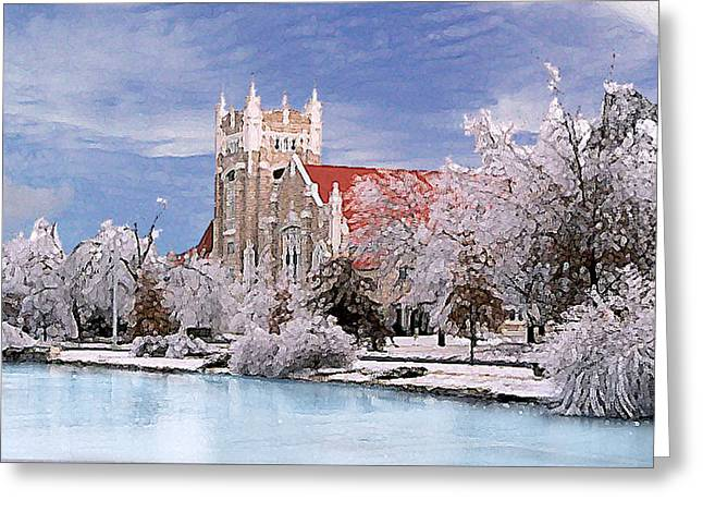 Greeting Card featuring the photograph Country Club Christian Church by Steve Karol