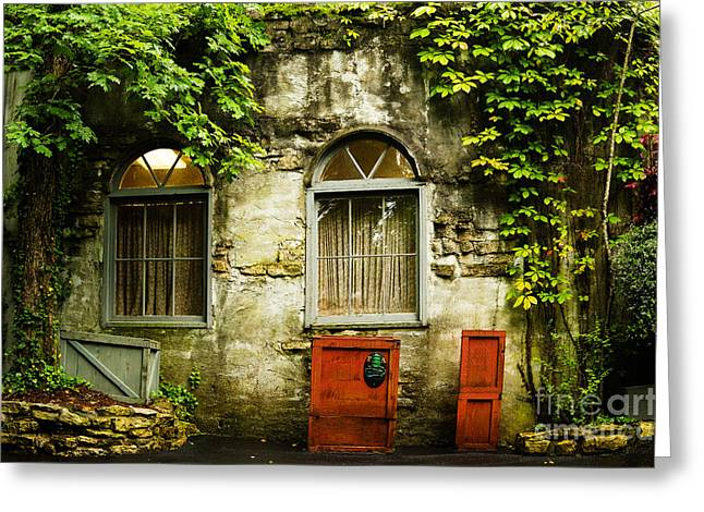 Country Cottage And Six Pane Windows Greeting Card by MaryJane Armstrong