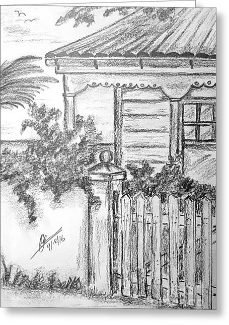 Country Cottage  Greeting Card by Collin A Clarke
