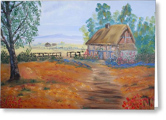 James Higgins Greeting Cards - Country Cottage Greeting Card by James Higgins