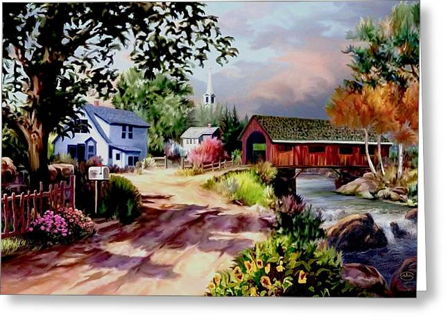 Country Covered Bridge Greeting Card by Ron Chambers