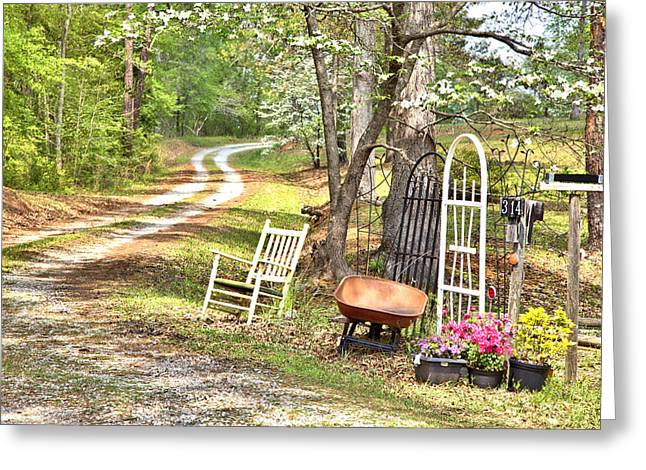Country Driveway In Springtime Greeting Card