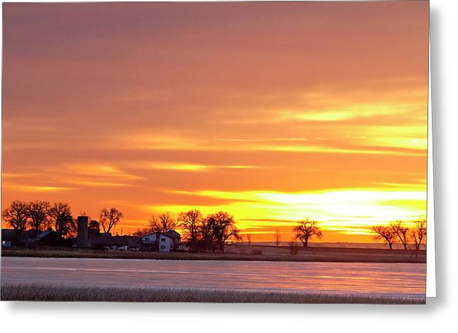 Sunset Prints Greeting Cards - Country Farm Union Reservoir Colorful Sunrise Longmont Colorado Greeting Card by James BO  Insogna