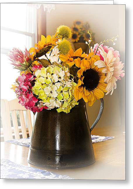 Country Flower Bouquet Greeting Card by Trudy Wilkerson
