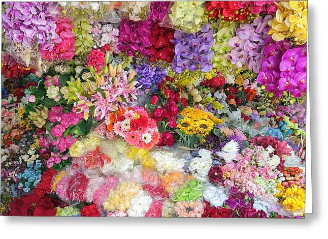 Country Flower Garden Colourful Design Greeting Card