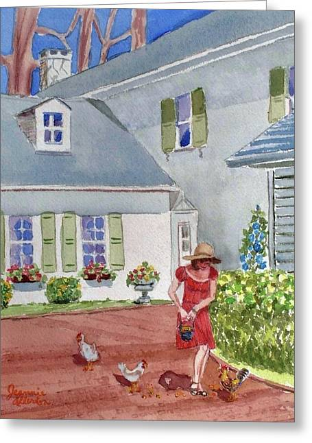 Country Girl In The Backyard At Swan Harbor Farm Greeting Card by Jeannie Allerton