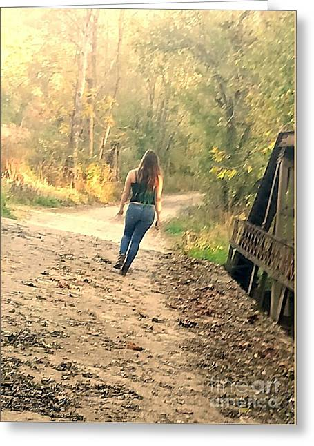 Country Girl Walking  Greeting Card by Scott D Van Osdol